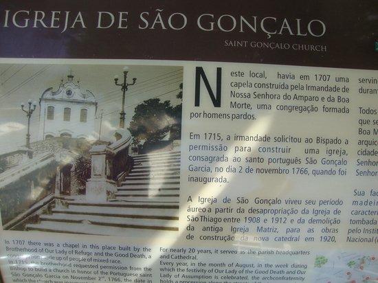 Sao Goncalo Church : Placa com a história!