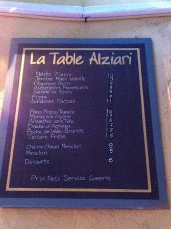 The menu picture of la table alziari nice tripadvisor for Table 52 menu