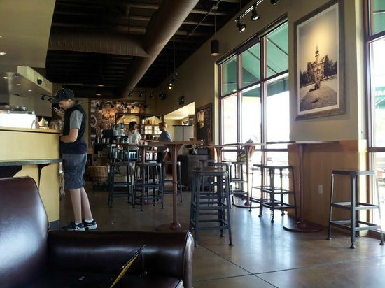 View from sitting by the fireplace. - Picture of Starbucks ...