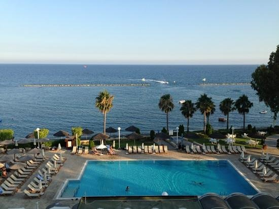 Atlantica Miramare Beach: View of the adult pool from our balcony.