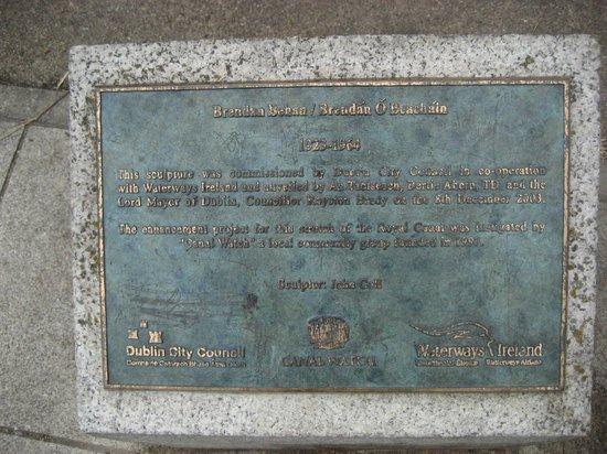 Brendan Behan Sculpture: The sign