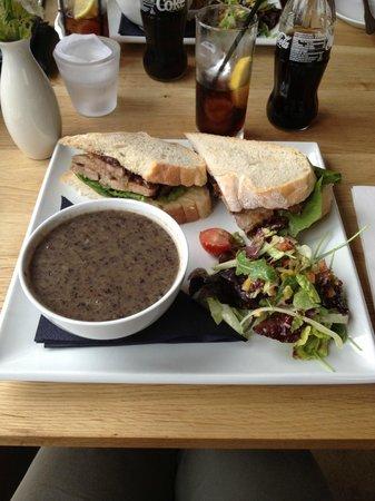Am Birlinn: Mushroom soup and Ony's pork sandwich