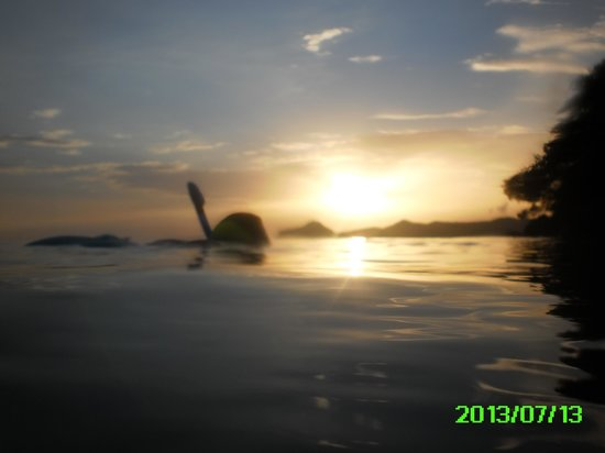 Oualie Beach Resort: snorkeling off the beach as sun sets