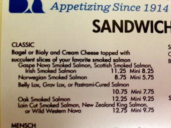 "Russ & Daughters : A Small Sample of the Sandwich Menu - Notice the Different Ways You Can Order a ""Classic"""