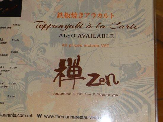 Zen Japanese Sushi Bar & Teppanyaki: Wide selection