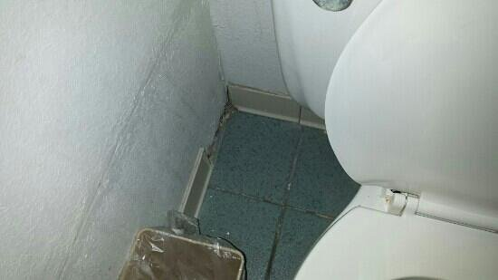 Howard Johnson St. Augustine/ I-95: dirty bathroom with missing tiles
