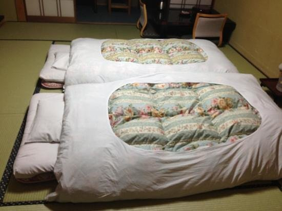 Our beds are ready at Ryokan Yakenoyu