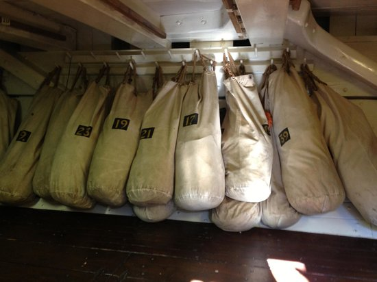 Riverwalk Pier: sailor's stored their seabags here.