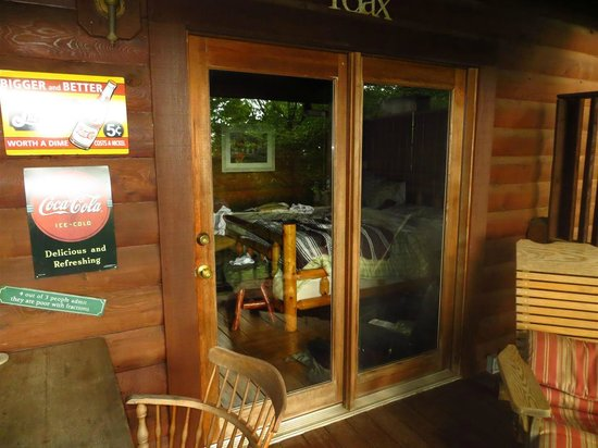 Above the Rest Cabins: Bedroom from back porch