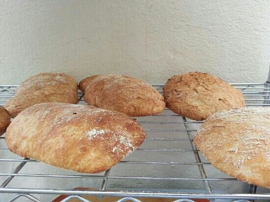 Boquete Artisan Baking Seminars: Ciabattas cooling off. July 2013.