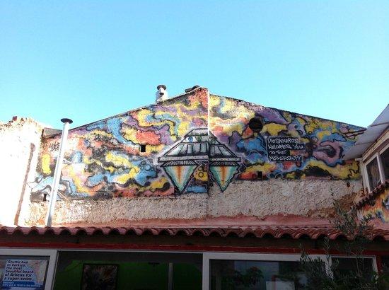 Hotel Dioskouros : decoración, arriba del desayunador, terraza amplia