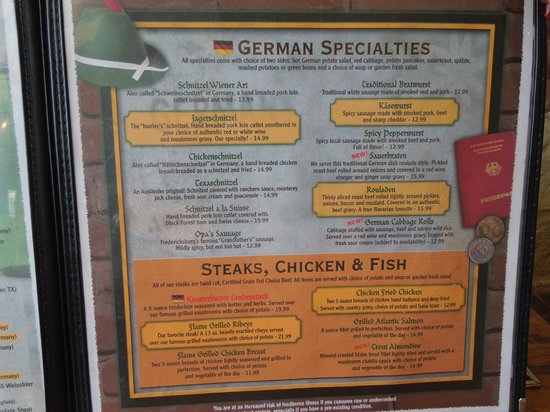 Auslander Restaurant: Auslander menu
