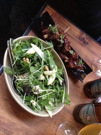 The Commons: Lamb Ribs and Rocket,Pear, Blue Cheese and Walnut Salad