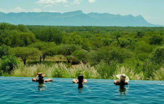 Khaya Ndlovu Manor House : Pool to Waterhole with Giraffe