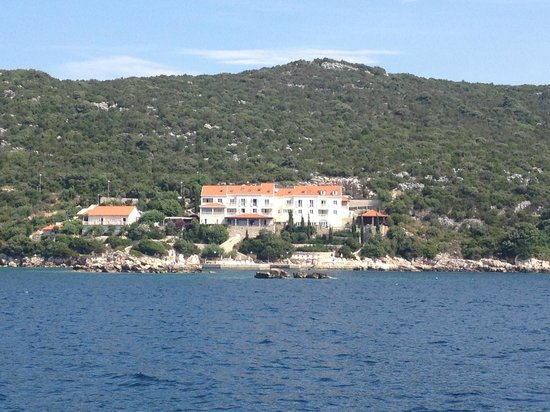 View of Hotel Bozica on the boat into Sipan