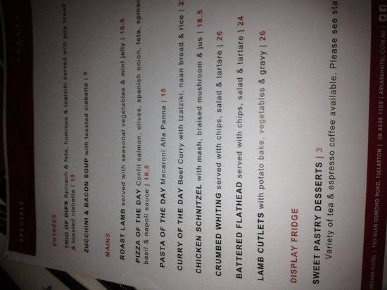 Arkaba Hotel: specials menu