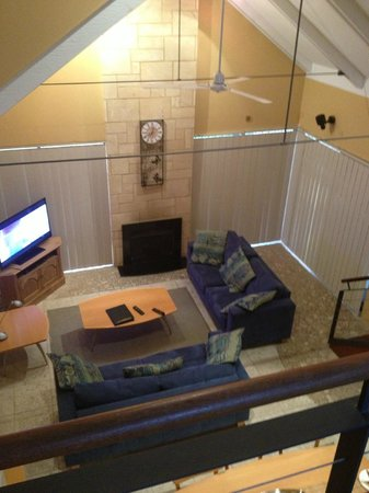 Dunsborough Beach Cottages: Looking down from loft into lounge