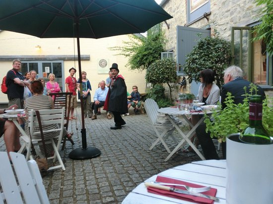 The Mill Cafe and Supper Club: we had some added entertainment with a visiting ghost teller  stopped by the courtyard