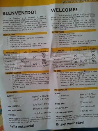 Apartamentos Galeón Playa: Leaflet on arrival