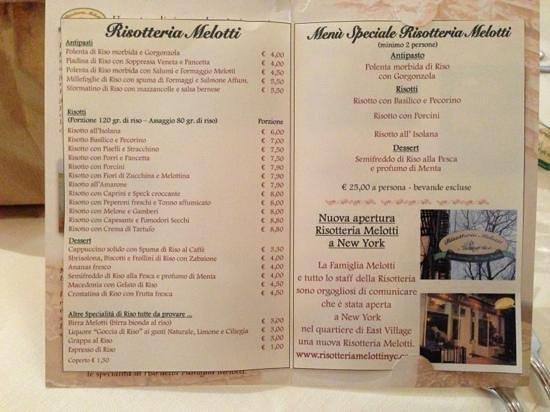 Isola della Scala, Italy: nuovo menù.