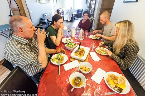 Bjorg Guesthouse: Dinner with the family - trout from the lake and milk from the cows!
