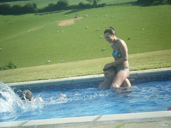 Trefanny Hill Cottages: My Son and his Girlfriend in the pool