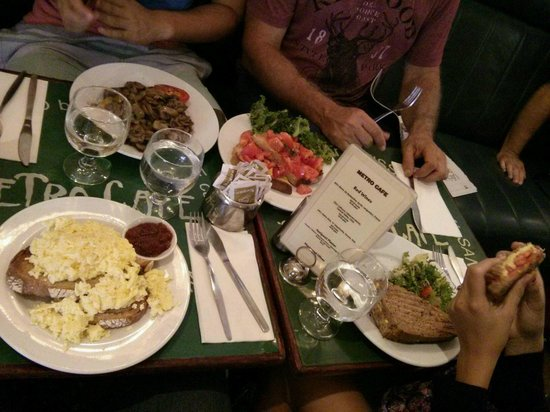 Metro Cafe: scrambled eggs, mushrooms on toast, bruschetta and toasted sandwiches