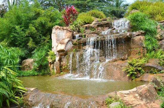 Munyonyo Commonwealth Resort: Waterfalls around the property