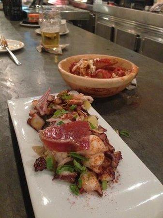 Ovejas Negras: tapas of grilled octopus -7EU . amazing!!