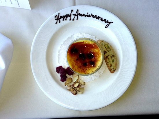 Stephanie Inn Dining Room: Our Happy Anniversary Creme Brulee