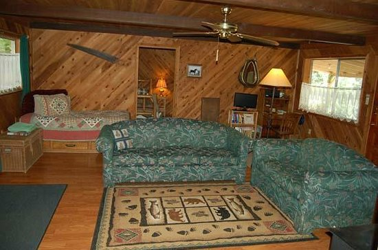 Trinity River Adventure Inn River Lodging: Carriage House living room