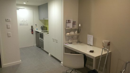 Citadines on Bourke Melbourne: kitchenette and desk with free wired and wireless internet