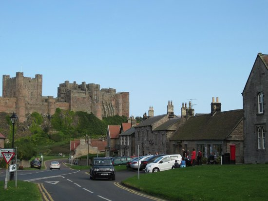 The Lord Crewe Hotel & Restaurant: Hotel on right dominated by castle
