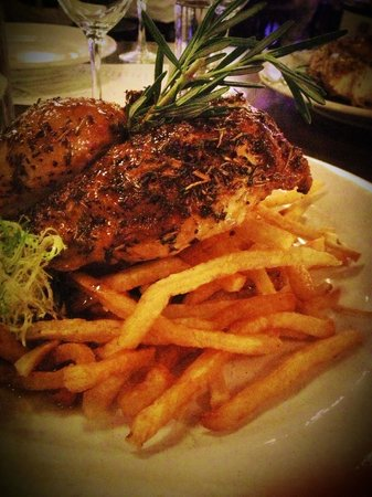 Sardine: Roasted half chicken with frites