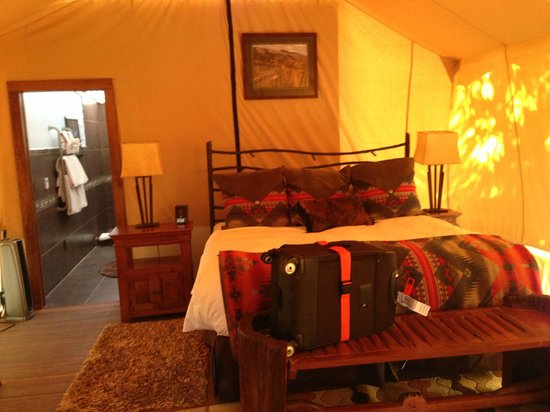 The Resort at Paws Up: great furnishing inside the tent and bathroom