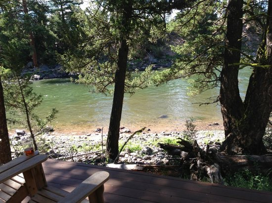 The Resort at Paws Up: From the porch you can walk out to the river