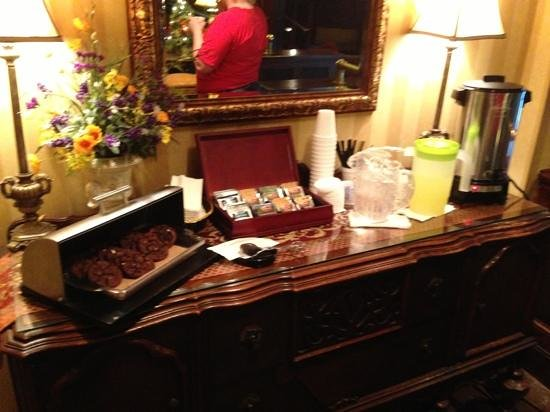 """The English Inn of Charlottesville: """"High tea and cookies""""-the tea is mostly Lipton, and only one kind of cookie."""