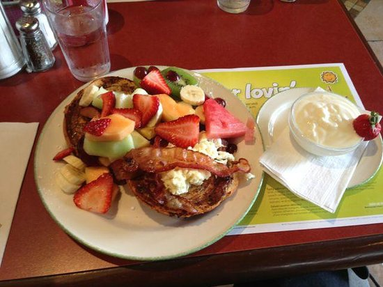 Cora's: I think this is called the 1990's Harvest.  Fruit, egg and bacon over a brioche french toast.