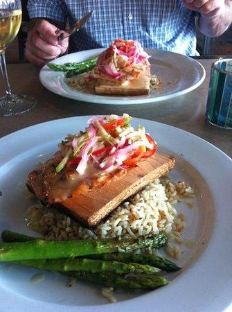 Trinity at City Beach: Cedar Plank Salmon