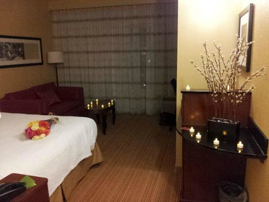 Courtyard Chicago Schaumburg: King bed guestroom (lights and flowers not included) that was a surprise