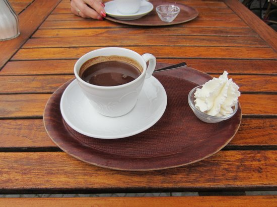 La Maison du Chocolat: Hot chocolate with real whipped cream on the side