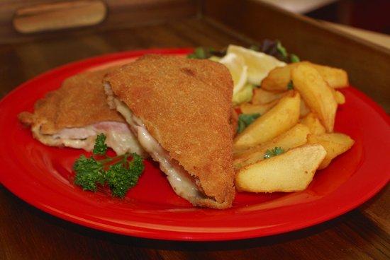 Austrian Peppers: Cordon Bleu (Pork cutlet w/ Swiss and Ham), Hand Cutted Fries