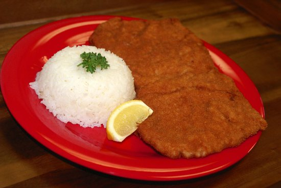 Austrian Peppers: Schnitzel Viennese Style Cutlet w/ Rice