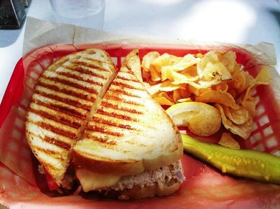 The Blue Coral : Tuna Melt, Chips, and a soggy pickle