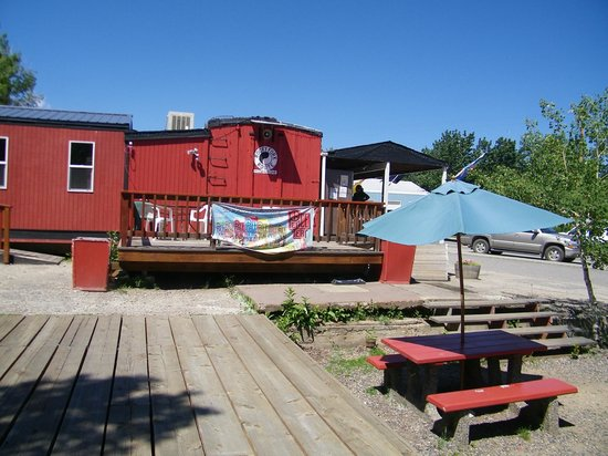 Red Box Car Inc: Patio side of restaurant