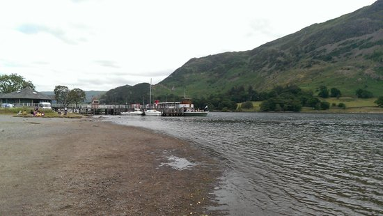 Ullswater Steamers: The view of Glenriding Pier with a steamer waiting