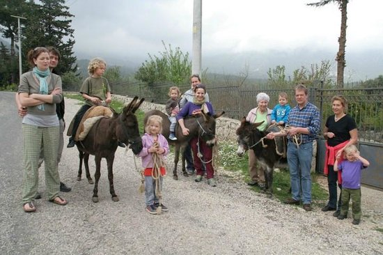 Sibel's Four Seasons Cafe & Restaurant: Donkey Riders in Front of Sibel's Four Seasons
