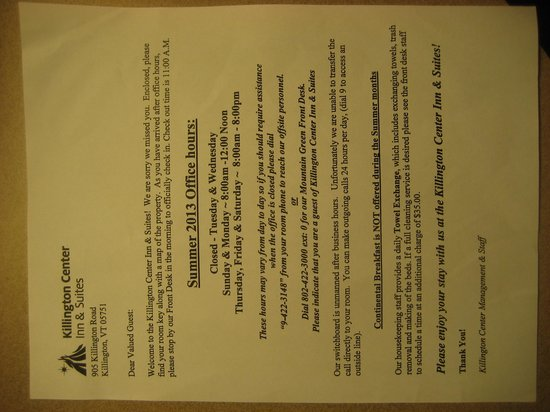 Killington Center Inn & Suites: this was handed to me at check-in