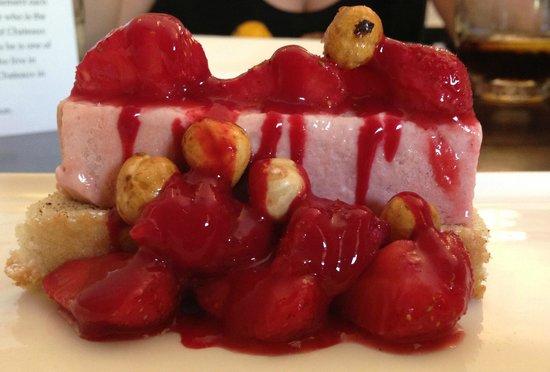 Gorton's Restaurant: Rhubarb parfait on almond sponge
