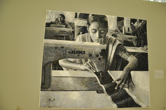 Museum of Wisconsin Art: Terese Agnew's Portrait of a Textile Worker made of clothing labels